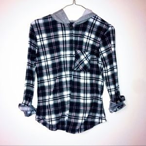 Prolly Esther hooded plaid shirt